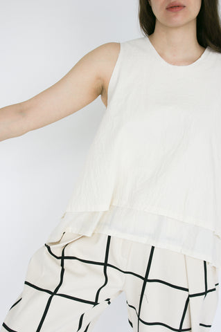 Little Creative Factory Crinkled Top in Cream on model view front