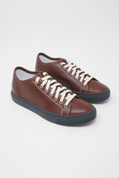 Sofie D'Hoore Frida Shoe - Napa Leather in Auburn/Grey diagonal front view