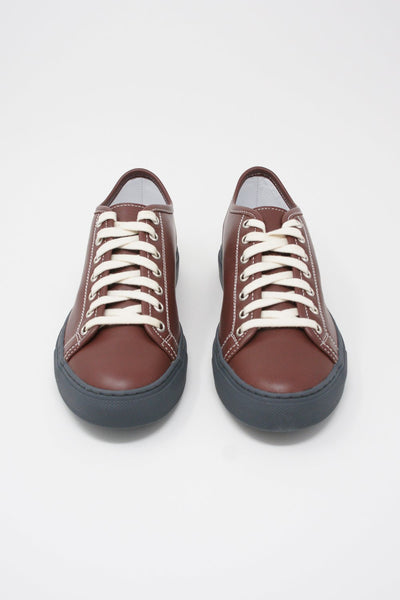 frontSofie D'Hoore Frida Shoe - Napa Leather in Auburn/Grey front view