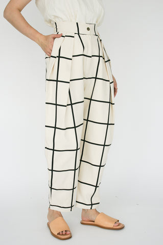 Little Creative Factory Plaid Trousers in Cream on model view front