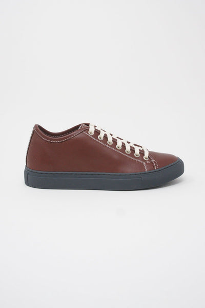 Sofie D'Hoore Frida Shoe - Napa Leather in Auburn/Grey side view