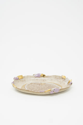Minh Singer Small Oval Iceland Platter in Northern Lights and Amethyst Crust side view