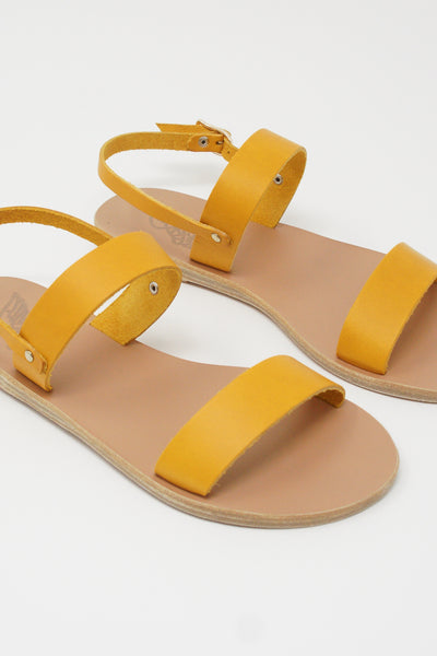 Ancient Greek Sandals Clio Sandal - Vachetta Leather in Amber Yellow front diagonal detail view