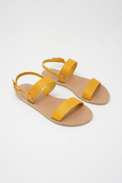 Ancient Greek Sandals Clio Sandal - Vachetta Leather in Amber Yellow front diagonal view