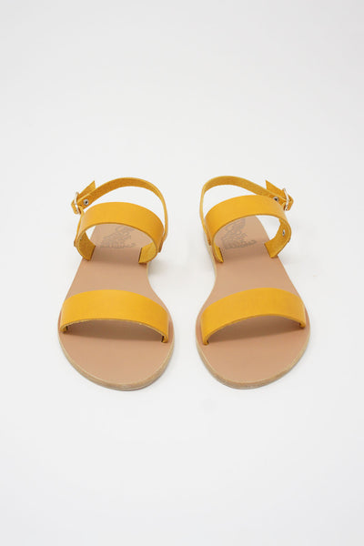 Ancient Greek Sandals Clio Sandal - Vachetta Leather in Amber Yellow front view