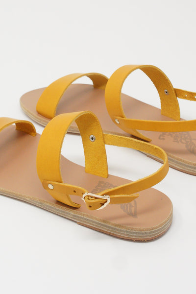 Ancient Greek Sandals Clio Sandal - Vachetta Leather in Amber Yellow back diagonal detail view