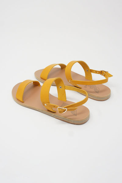 Ancient Greek Sandals Clio Sandal - Vachetta Leather in Amber Yellow back diagonal view