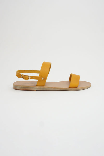 Ancient Greek Sandals Clio Sandal - Vachetta Leather in Amber Yellow side view