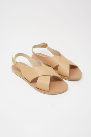 Ancient Greek Sandals Maria Sandal - Vachetta Leather in Natural diagonal front view