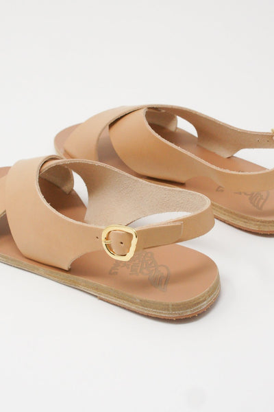 Ancient Greek Sandals Maria Sandal - Vachetta Leather in Natural diagonal back detail view