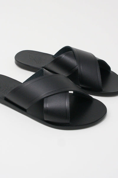 Ancient Greek Sandals Thais Sandal - Vachetta Leather in Black diagonal front detail view