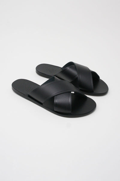 Ancient Greek Sandals Thais Sandal - Vachetta Leather in Black diagonal front view