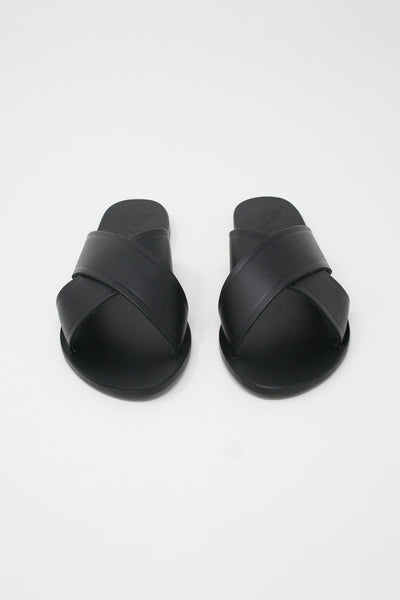 Ancient Greek Sandals Thais Sandal - Vachetta Leather in Black front view
