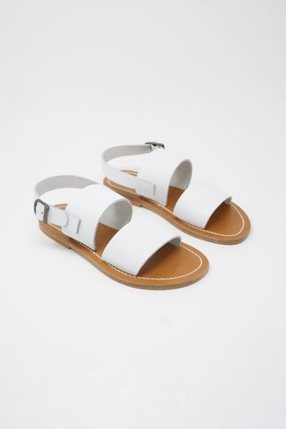 Cristaseya Pul Sandals in White diagonal front view