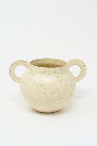 Lost Quarry Hand Built No. 00123 - Circle Handles in Speckled Clay in Sun Drop