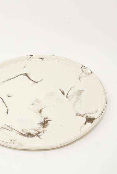 Lost Quarry Marbled Fields Platter in Mixed Marbled Clay - White/Black side view detail