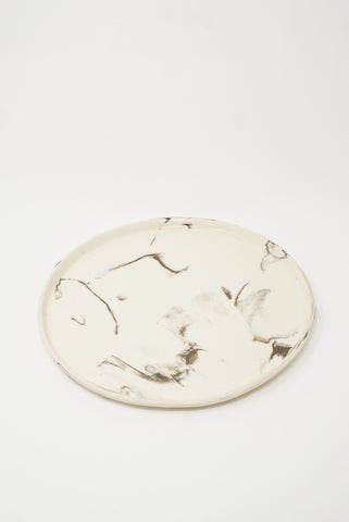 Lost Quarry Marbled Fields Platter in Mixed Marbled Clay - White/Black