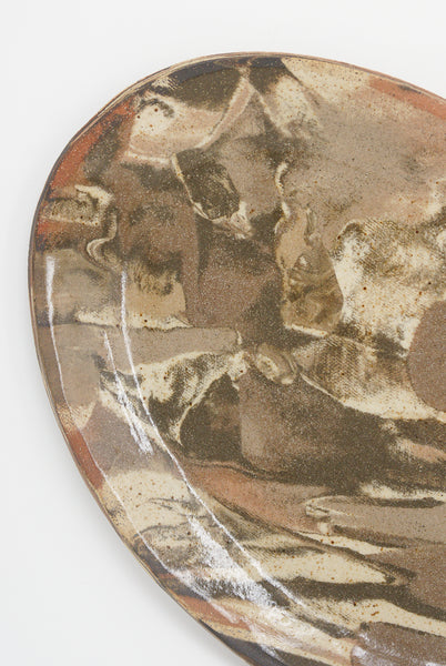 Lost Quarry Marbled Fields Oval Platter in Mixed Marbled Clay - Brown detail view