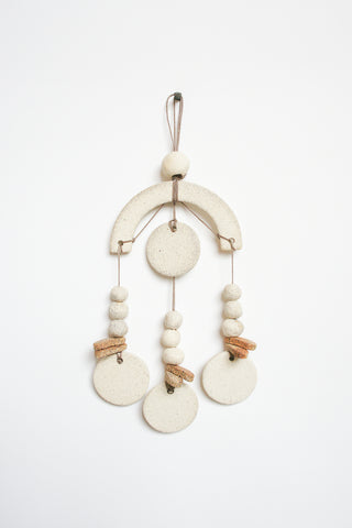 Heather Levine Small Wall Hanging -  Arch and 3 Circle Drops in Off White/Brown