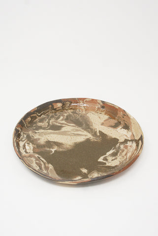 Marbled Fields Platter in Mixed Marbled Clay - Brown