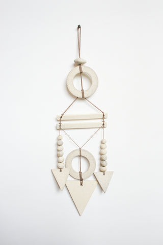 Heather Levine Wall Hanging - Circles with Bars and Triangle Drops in Off White/Gray