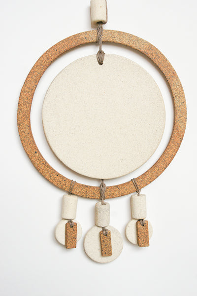 Heather Levine Wall Hanging - Double Circles with 3 Drops in Off White/Brown