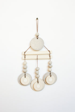 Heather Levine Small Wall Hanging - Double Bars with 3 Circle Drops in Off White/Gray
