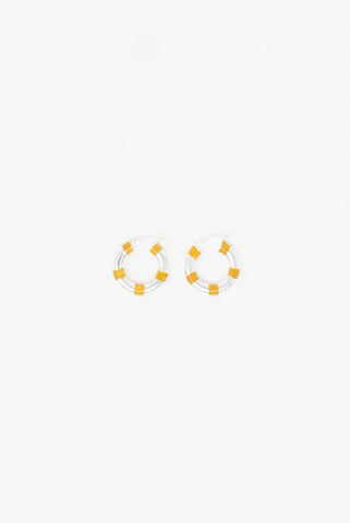 Abby Carnevale Striped Hoops in Silver - Yellow Oxide