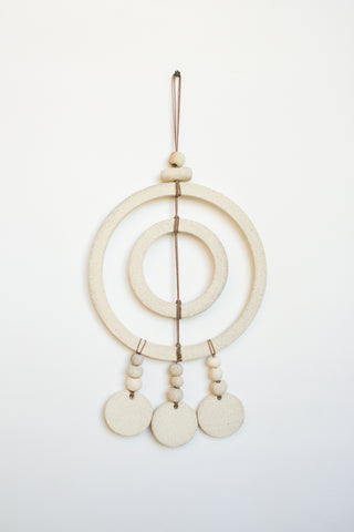 Heather Levine Wall Hanging with Double Circles and 3 Triple Circle Drops in Off White