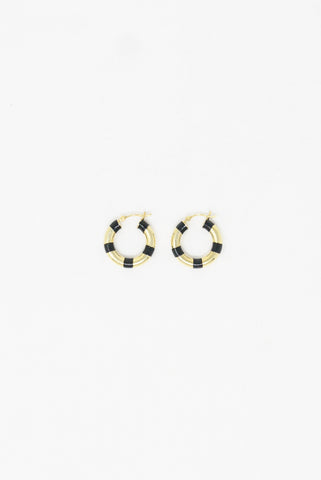 Abby Carnevale Striped Hoops in 14K Gold Plated Silver -  Black