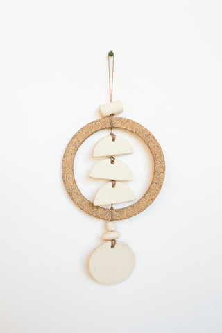 Heather Levine Small Wall Hanging - Ring with 3 Half Circles  in Off White/Brown