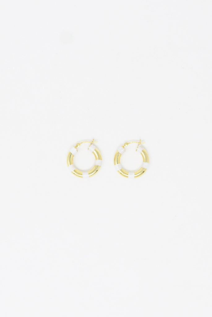 Abby Carnevale Striped Hoops in 14K Gold Plated Silver - White