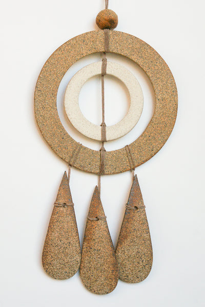 Heather Levine Wall Hanging - Double Circle with Drops in Off White/Brown