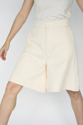 Nancy Stella Soto Bell Bottom Hemp Shorts with Side Pockets in Ivory on model view front