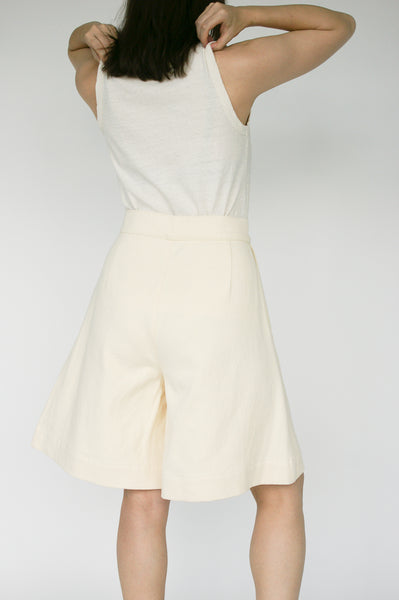 Nancy Stella Soto Bell Bottom Hemp Shorts with Side Pockets in Ivory on model view back