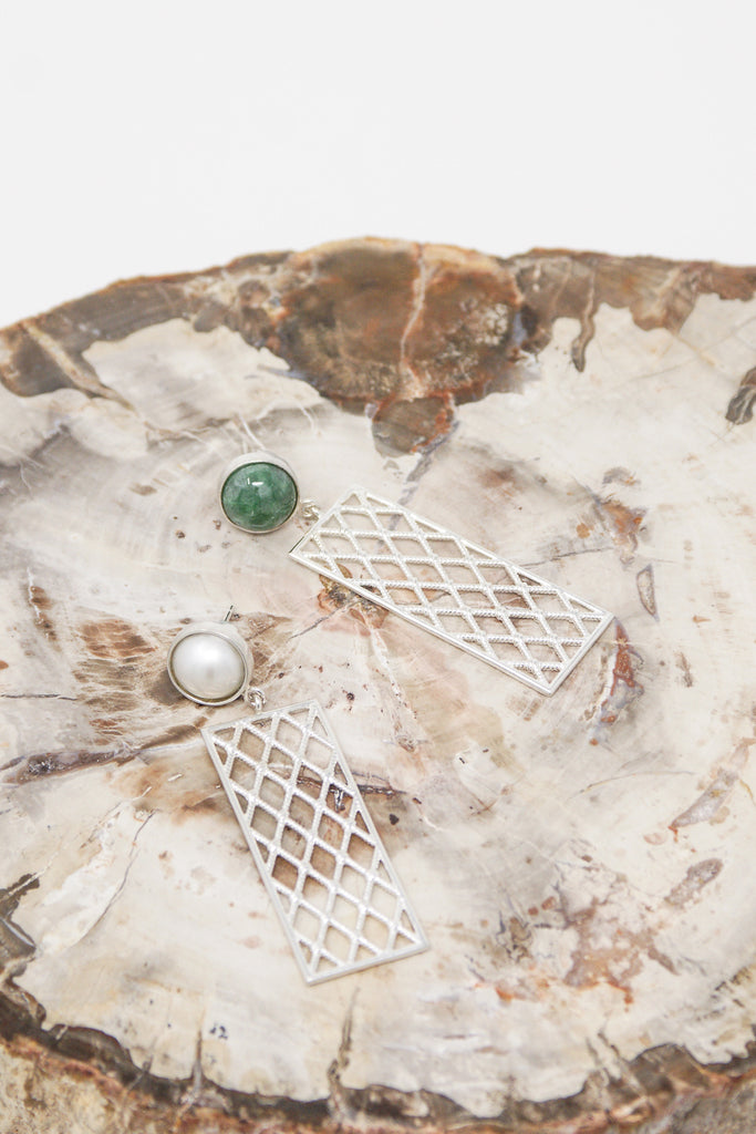Ursa Major Netted Panel Earrings in Sterling Silver with Jade & Pearl