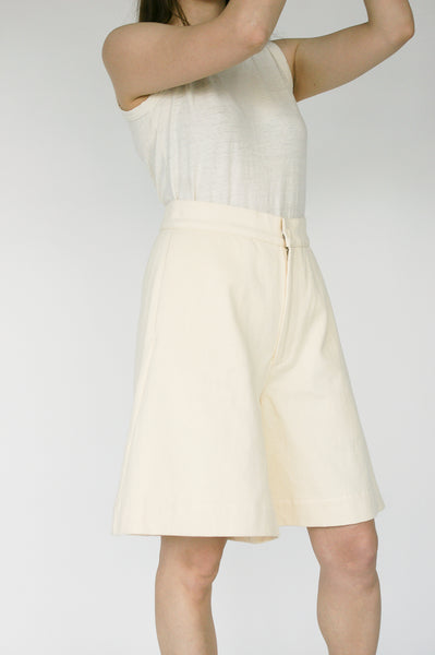 Nancy Stella Soto Bell Bottom Hemp Shorts with Side Pockets in Ivory on model view side