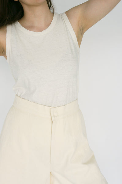 Nancy Stella Soto Bell Bottom Hemp Shorts with Side Pockets in Ivory waist detail view