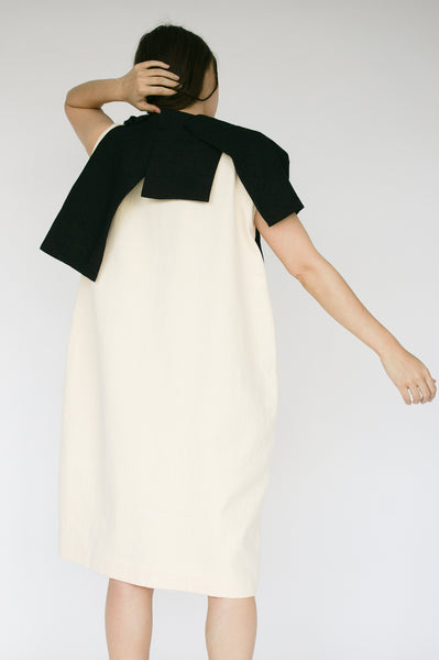 Nancy Stella Soto Hemp and Linen Piñata Sleeveless Dress with Side Pockets in Ivory with Black on model view back