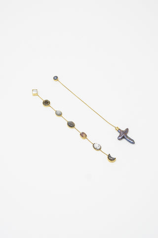 Grainne Morton X-Long Mismatched Chain Drop Earrings