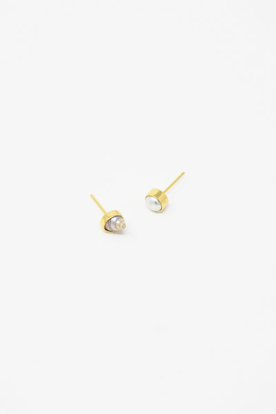 Grainne Morton Stud Earring in Gold Plated Silver with Seashell group view