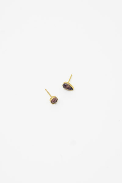 Grainne Morton Stud Earring in Gold Plated Silver with Round Purple
