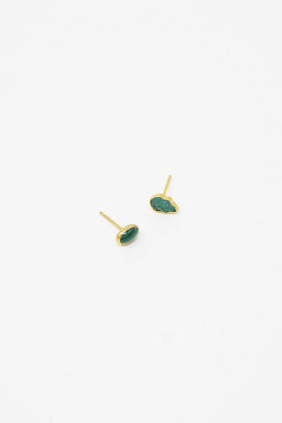 Grainne Morton Stud Earring in Gold Plated Silver with Vintage Glass Green Leaf