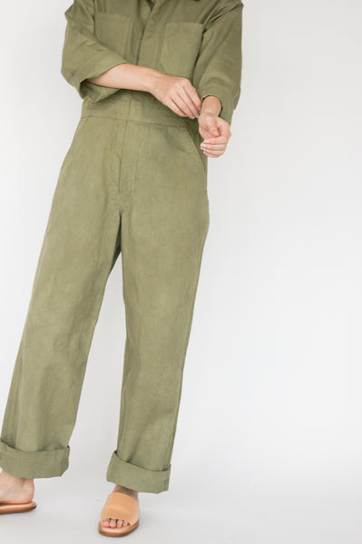 As Ever Zip Jumpsuit in Mission Olive pant detail view