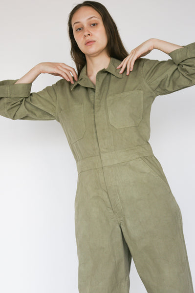 As Ever Zip Jumpsuit in Mission Olive on model view front