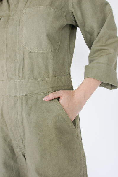 As Ever Zip Jumpsuit in Mission Olive pocket detail view