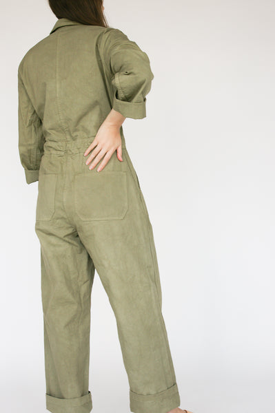 As Ever Zip Jumpsuit in Mission Olive on model view back