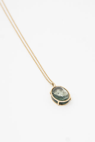 Mary MacGill 14K Floating Necklace in Green Tourmaline