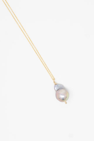 Mary MacGill Baroque Pearl Drop Necklace in Silver