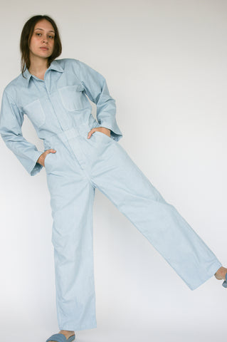 As Ever Zip Jumpsuit in Silverlake on model view front